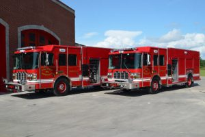 two fire trucks